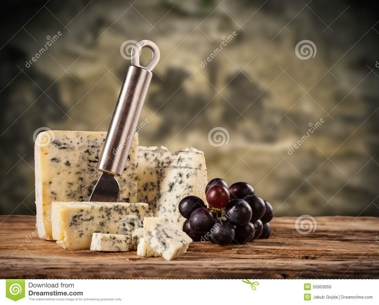 Blue cheese on wood