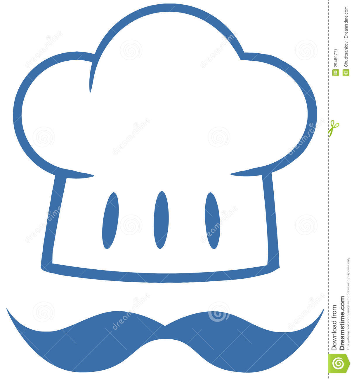Blue Chef Hat With A Mustache Logo Stock Vector
