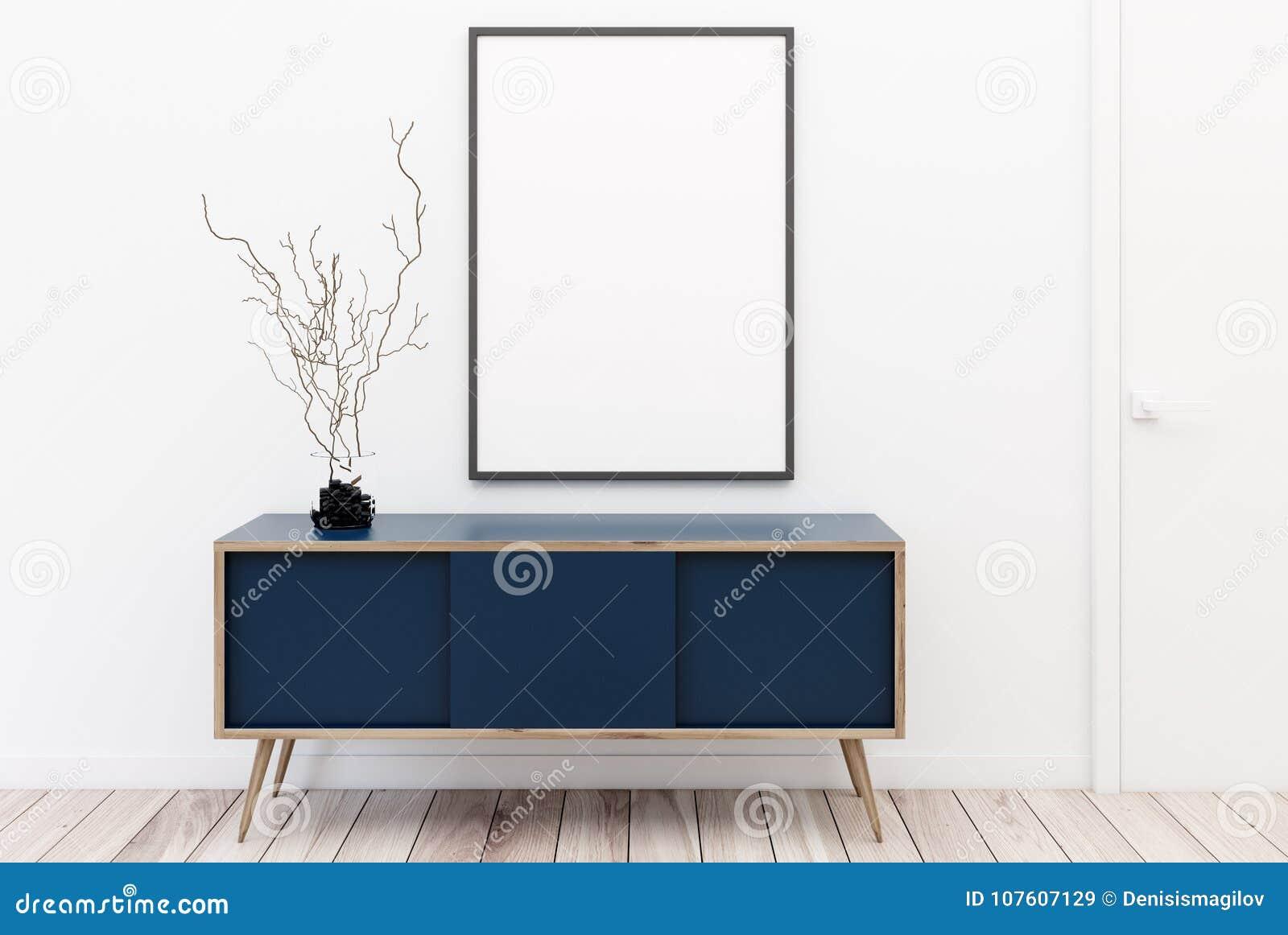 Blue Chest Of Drawers, Poster, White Stock Illustration ...