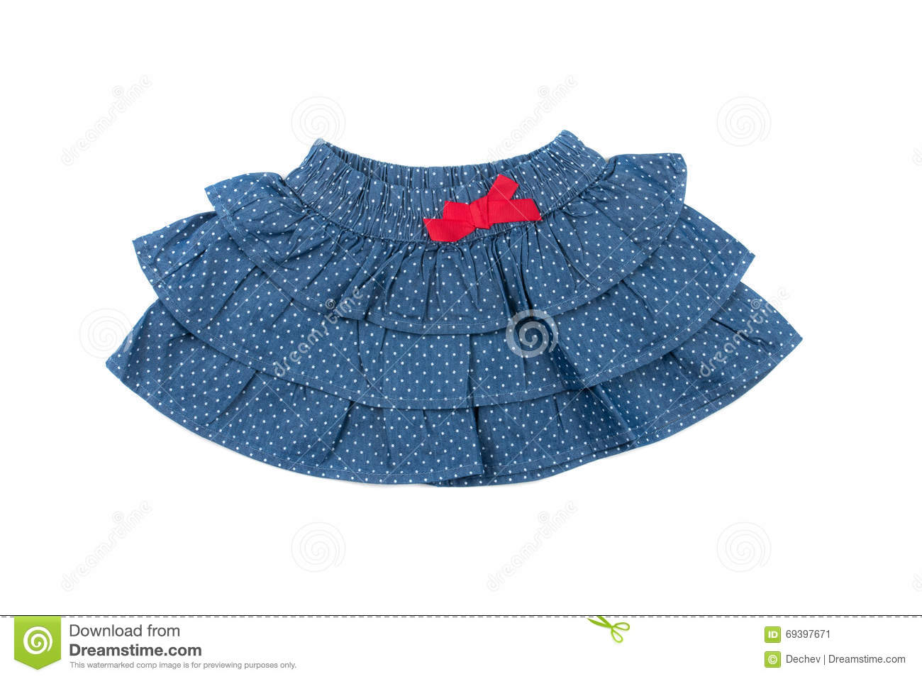 Blue children skirt with white dots, isolated on white