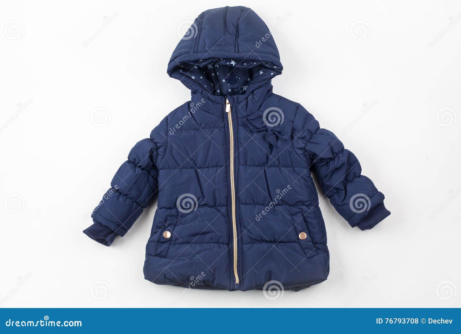7860fcd95 Blue Children Winter Jacket Stock Photo - Image of elegance ...