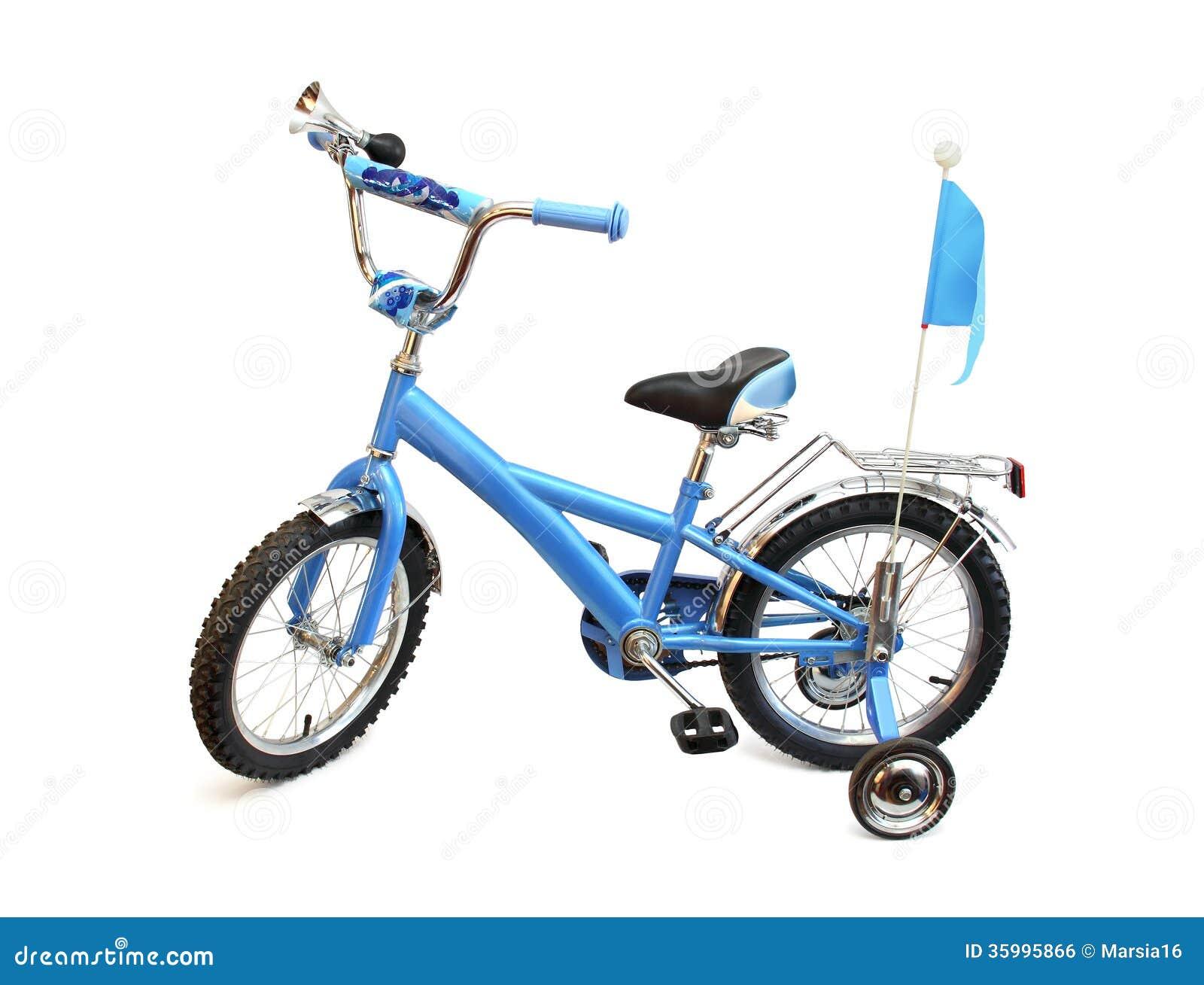 blue childs bike on white royalty free stock image   image