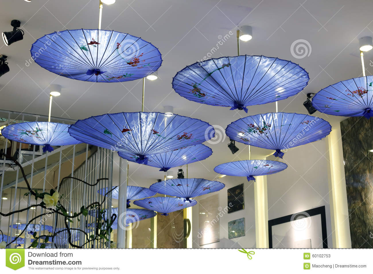 Blue chinese umbrella stock photo image 60102753 for Decor umbrellas