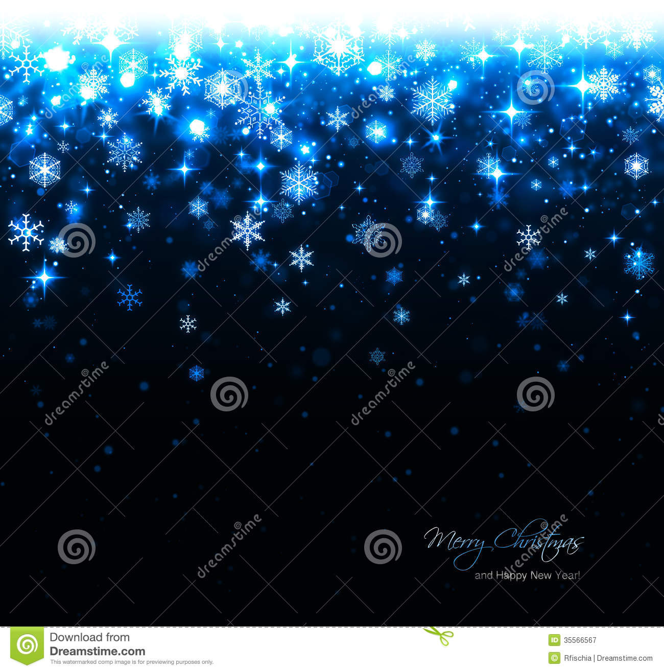 blue christmas background with stars and snowflakes stock