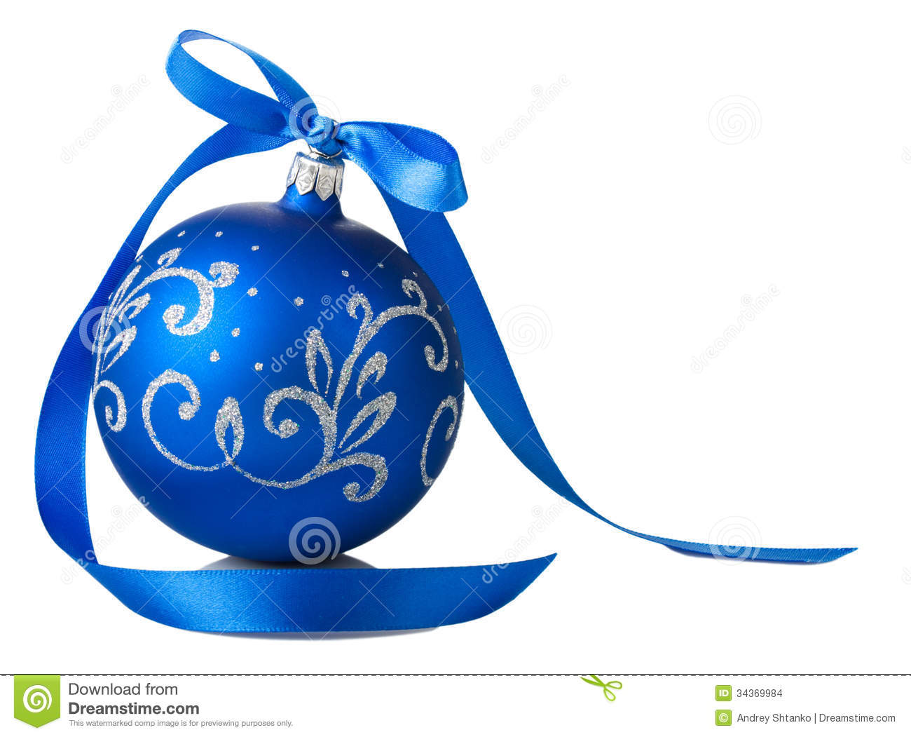 Blue Christmas Ball With Ribbon Bow Stock Images - Image: 34369984
