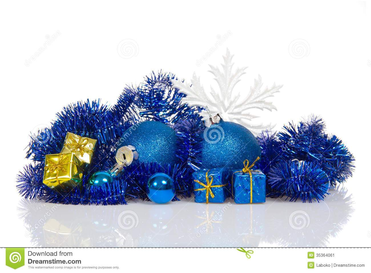 Blue christmas balls and blue gold gift boxes stock image for Blue and gold christmas