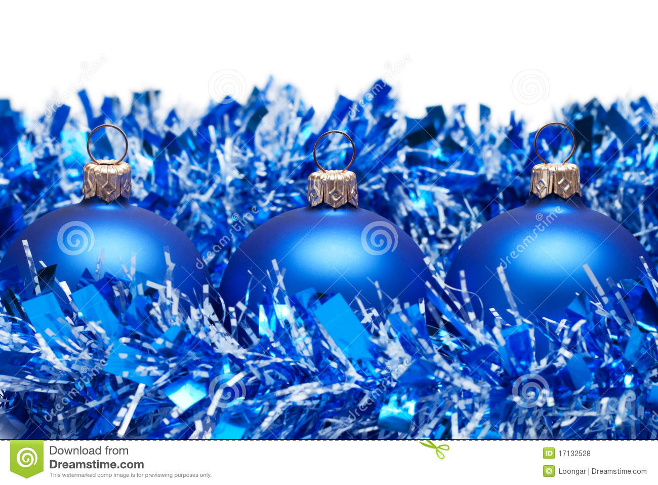 Blue christmas balls with tinsel isolated royalty free