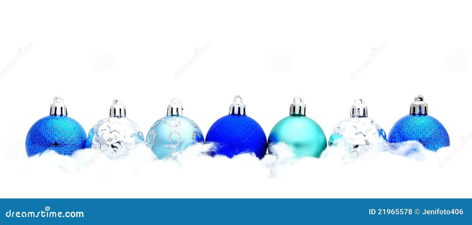 Blue Christmas Bauble Border Royalty Free Stock Photos