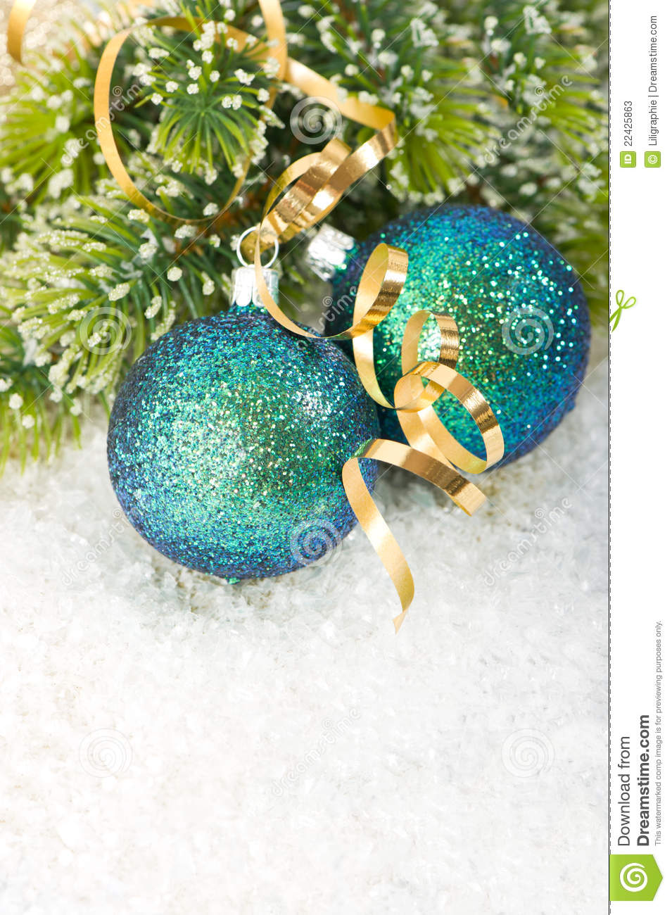 Blue Christmas Bauble With Christmas Tree Branch Stock