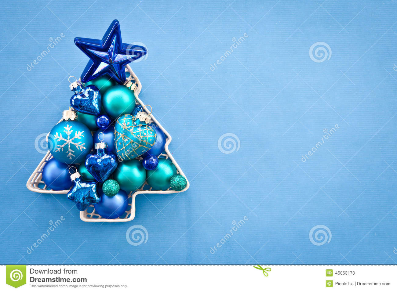 Blue Christmas Baubles Stock Photo Image 45863178
