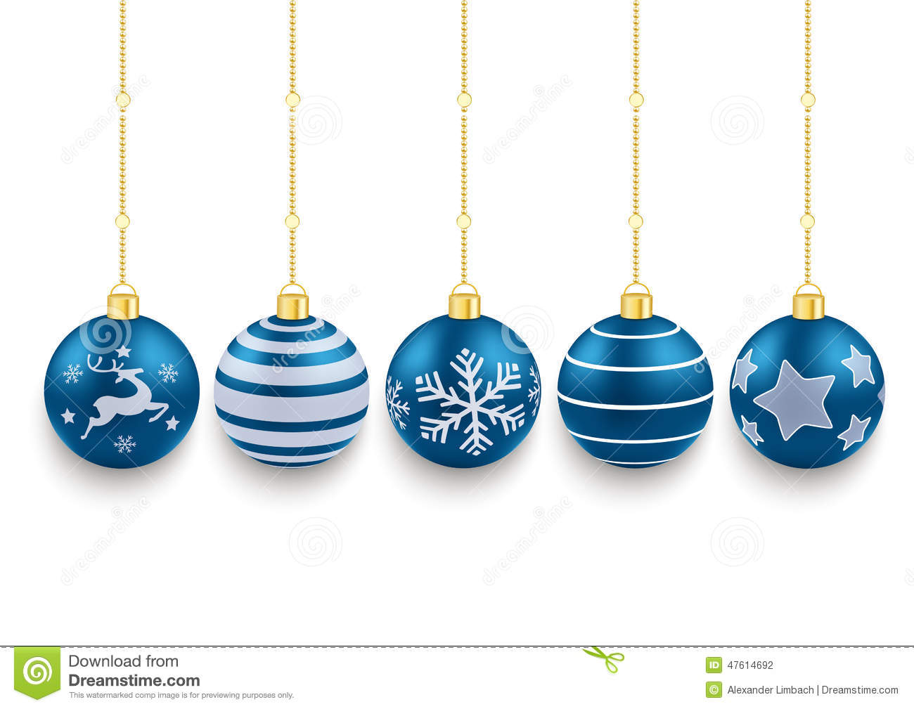 5 blue christmas baubles white background stock vector for White christmas baubles