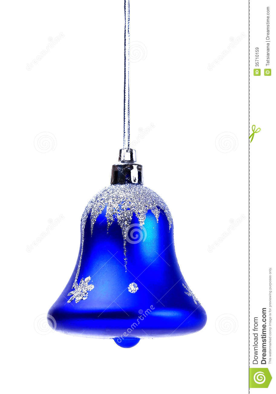 Blue christmas bell isolated royalty free stock images
