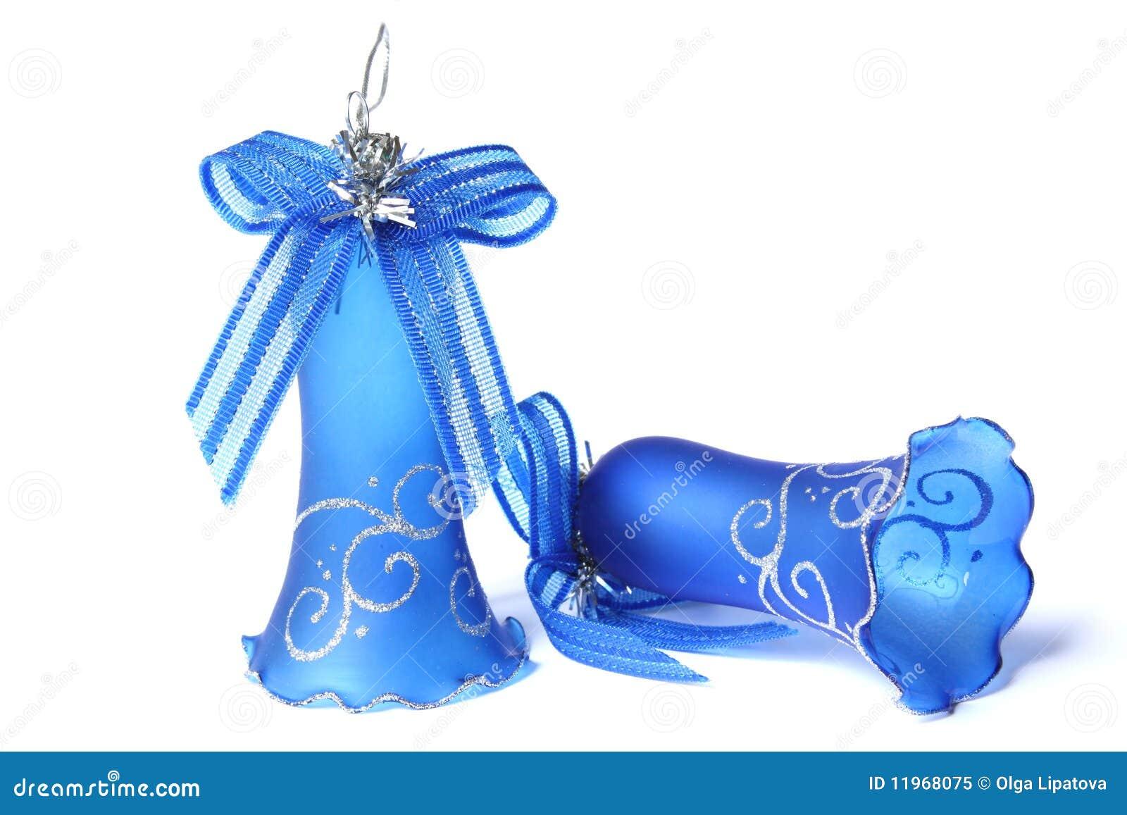 Blue christmas bells royalty free stock photo image
