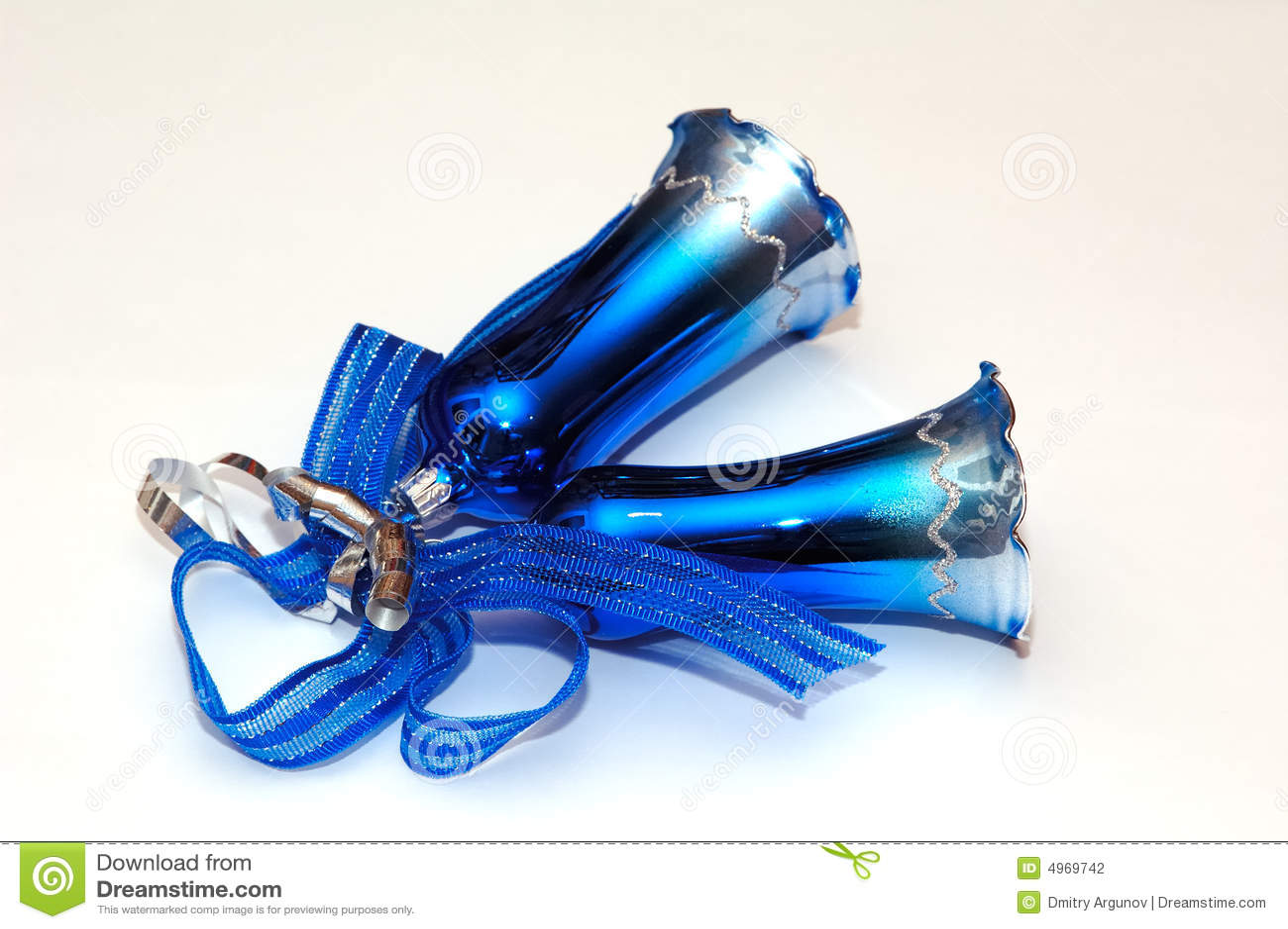 Blue christmas bells stock photo image of glass ornate
