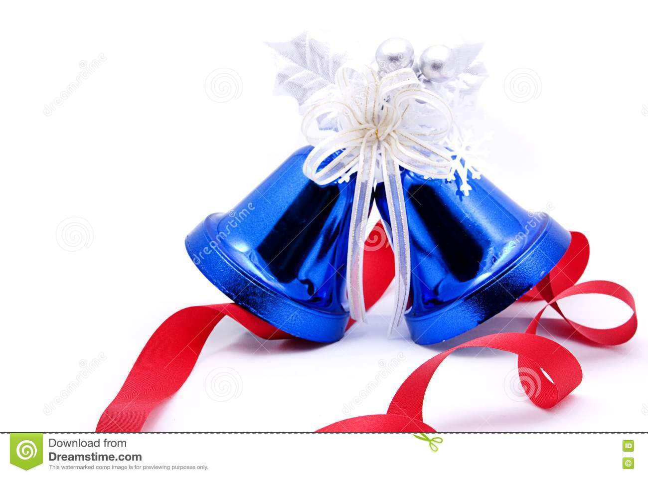 Blue christmas bells and red bow ribbon stock image