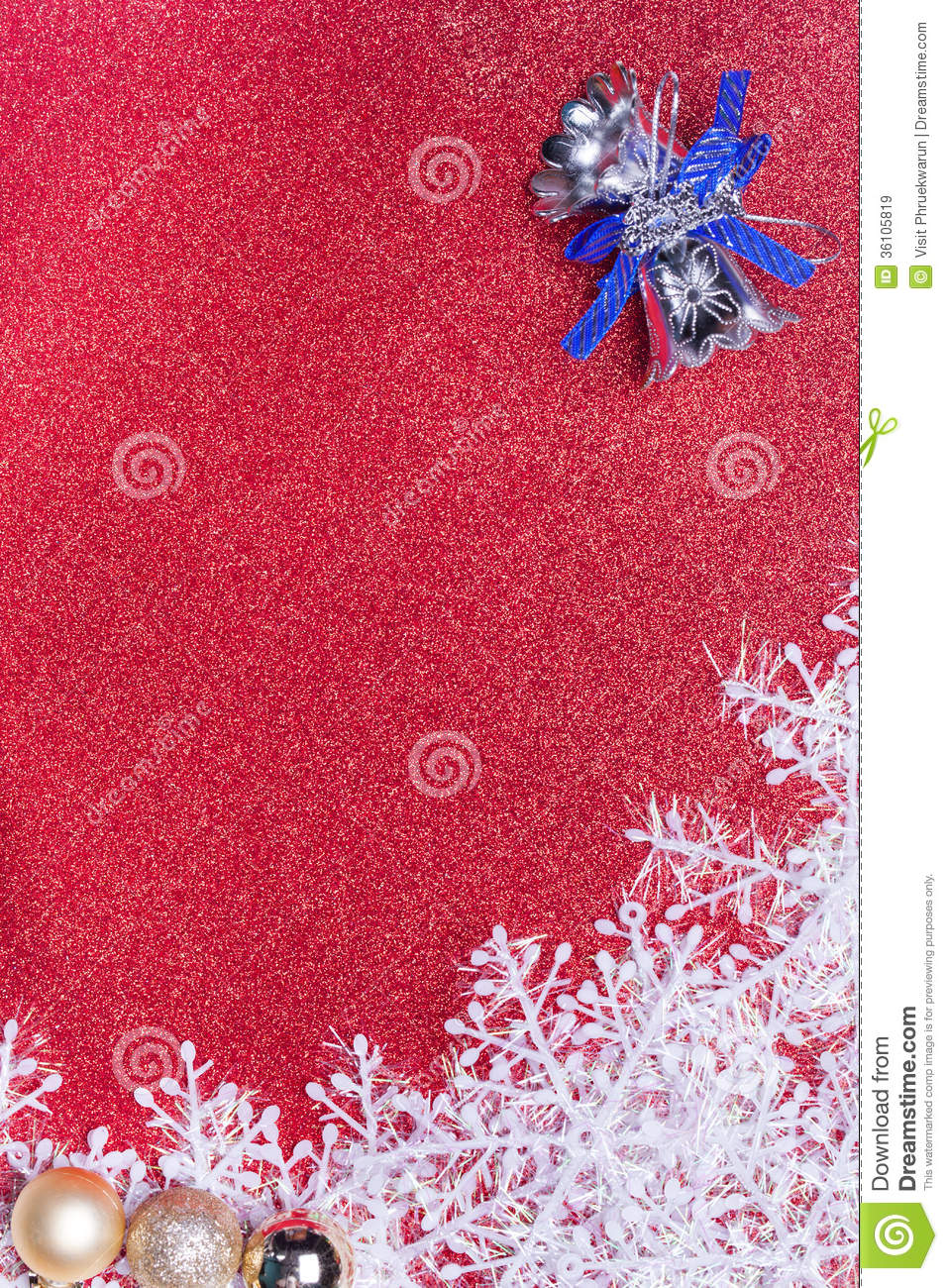 Blue christmas bells and snowflake on red background