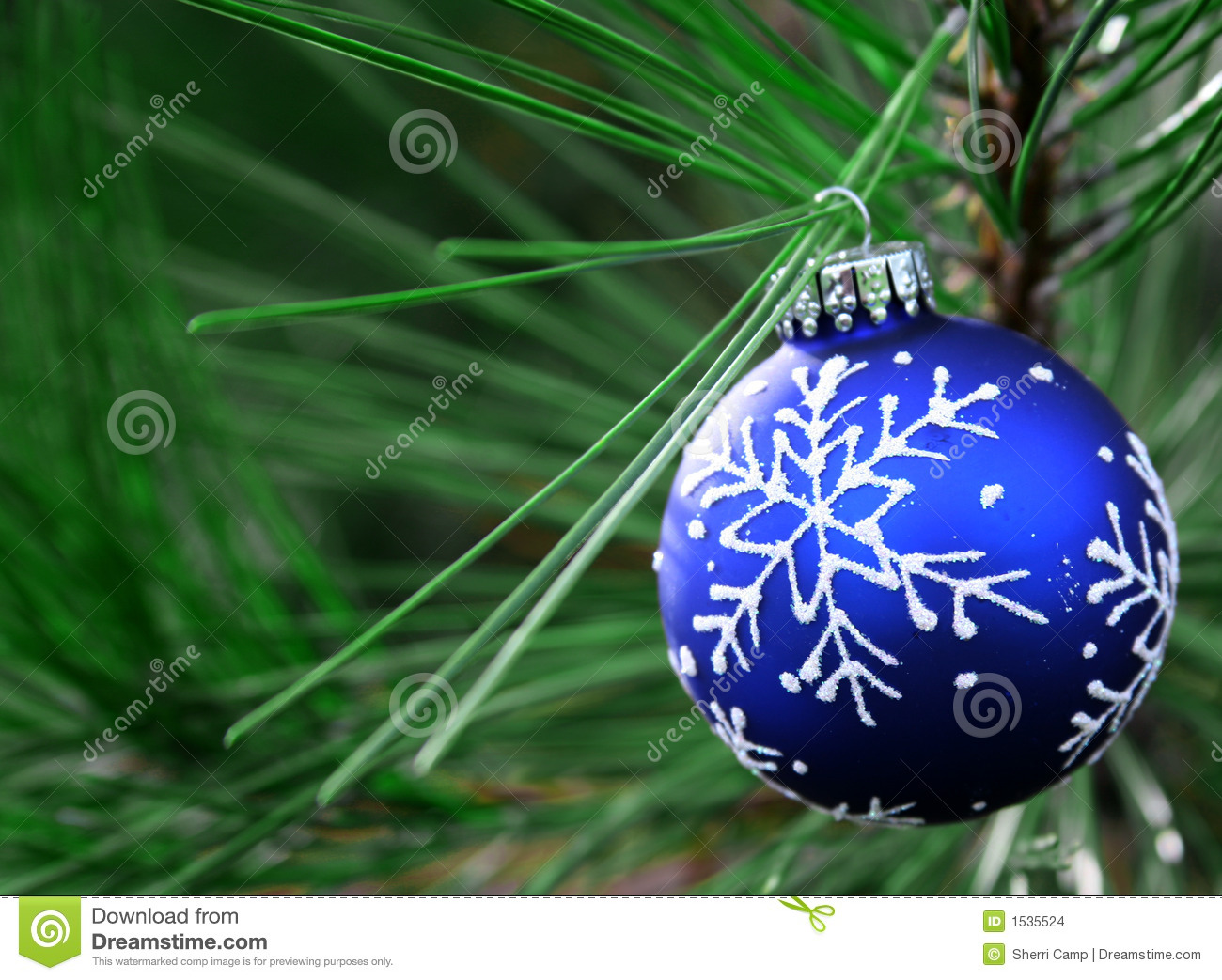 Blue Christmas Bulb On Tree Stock Photo Image 1535524