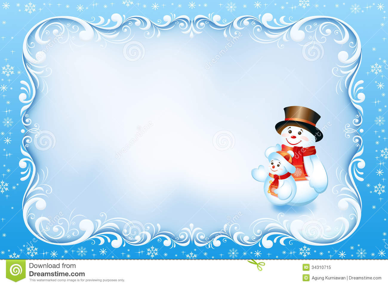 Blue Christmas Card With Swirl Frame And Snowman Stock Illustration ...