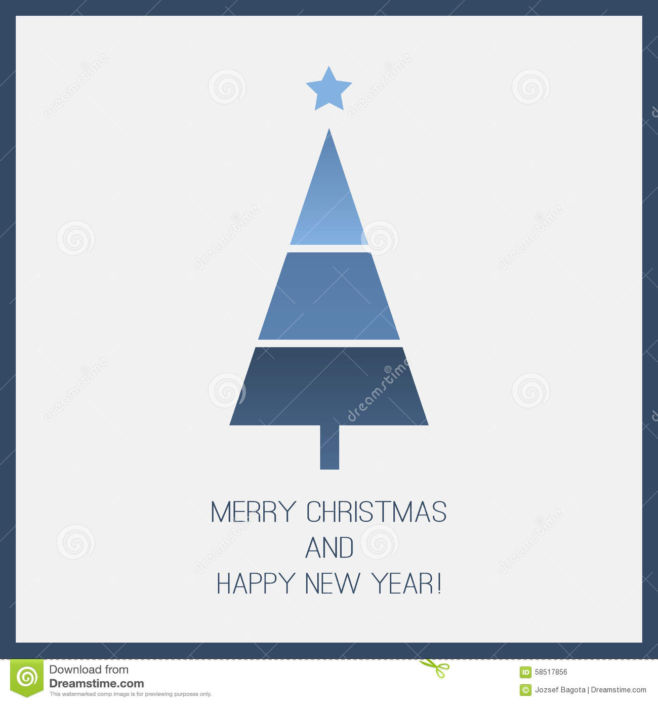 Blue Christmas Card Template Stock Vector Image 58517856