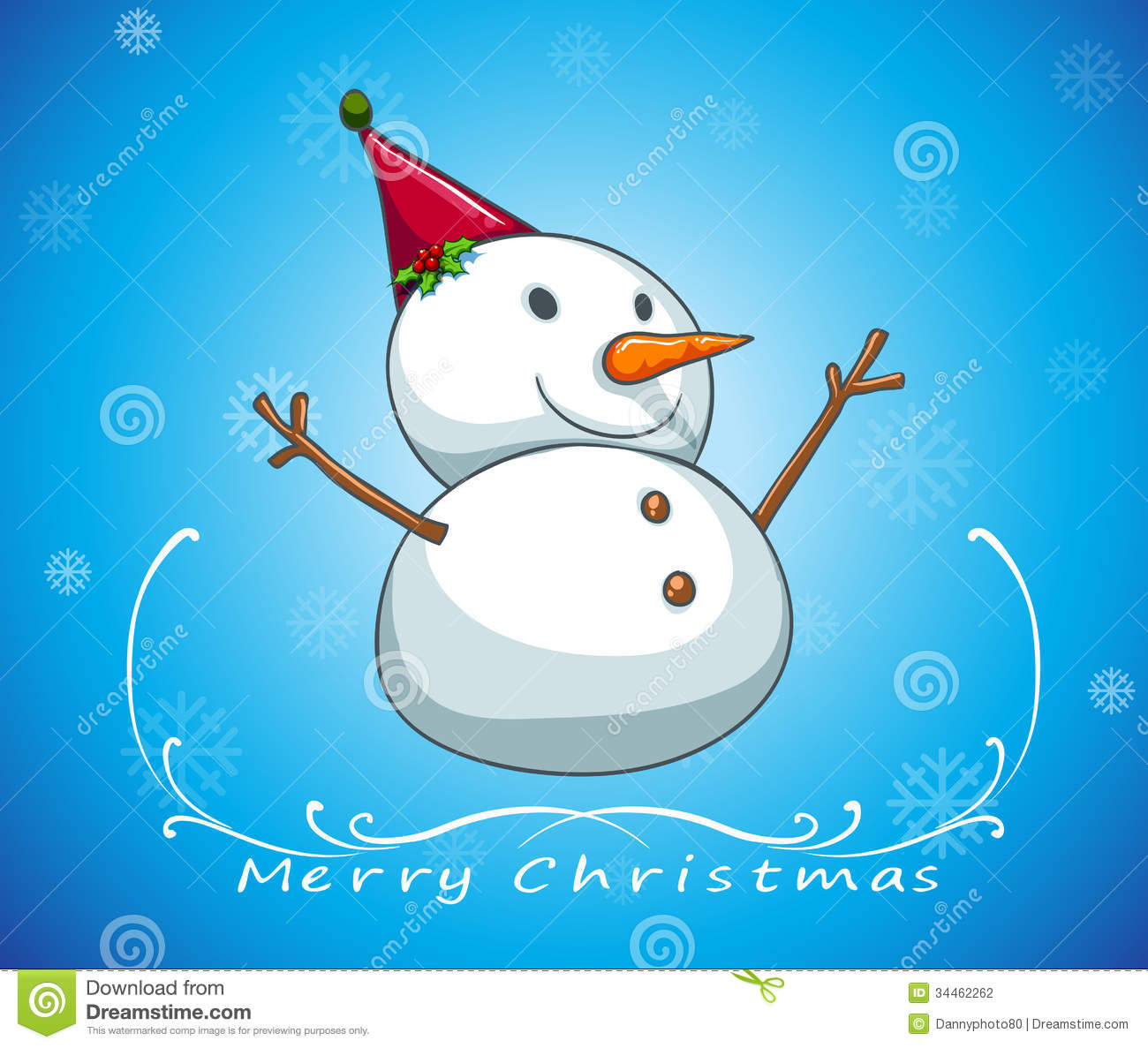 a blue christmas card template with a snowman stock