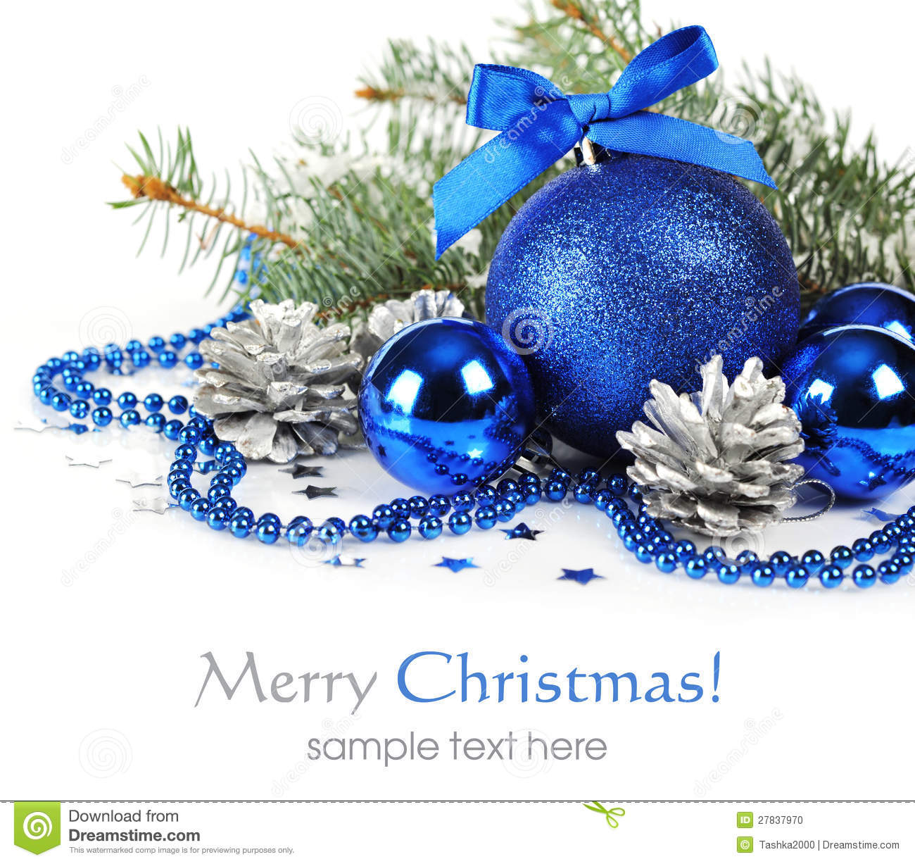 Blue christmas decorations stock photo image of green