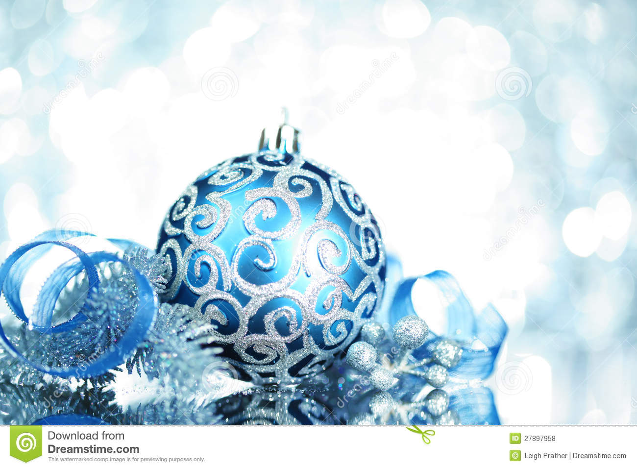 download blue christmas decorations stock photo image of decorate 27897958