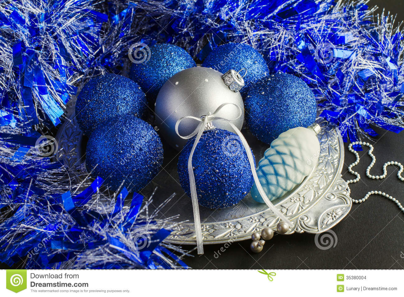 Blue Christmas Decorations Stock Images - Image: 35380004
