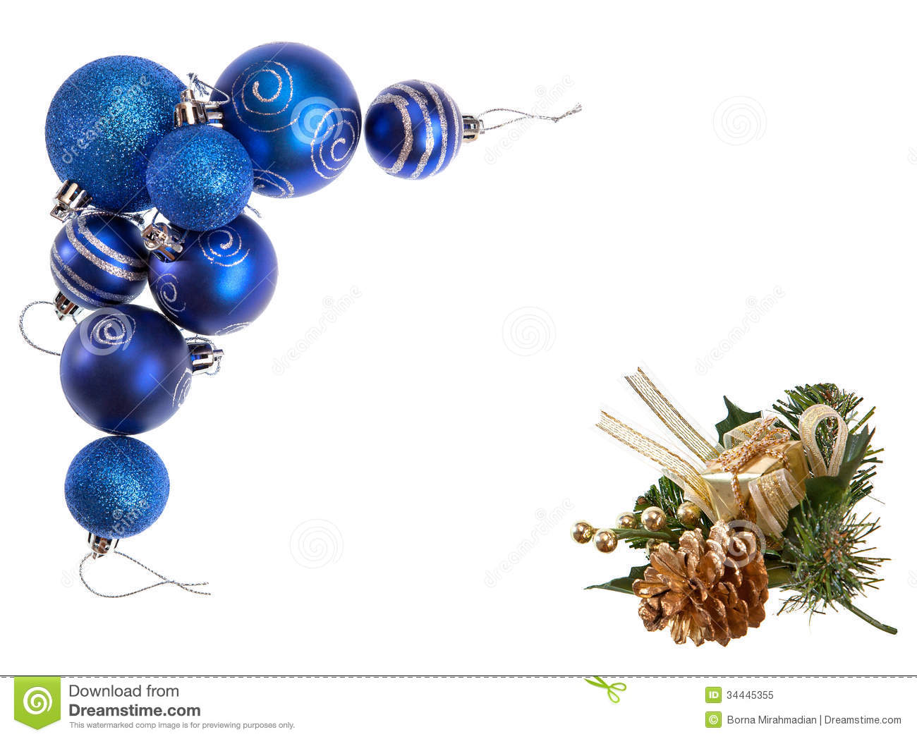 Blue Christmas Decorative Baubles And Golden Pine Cone ...