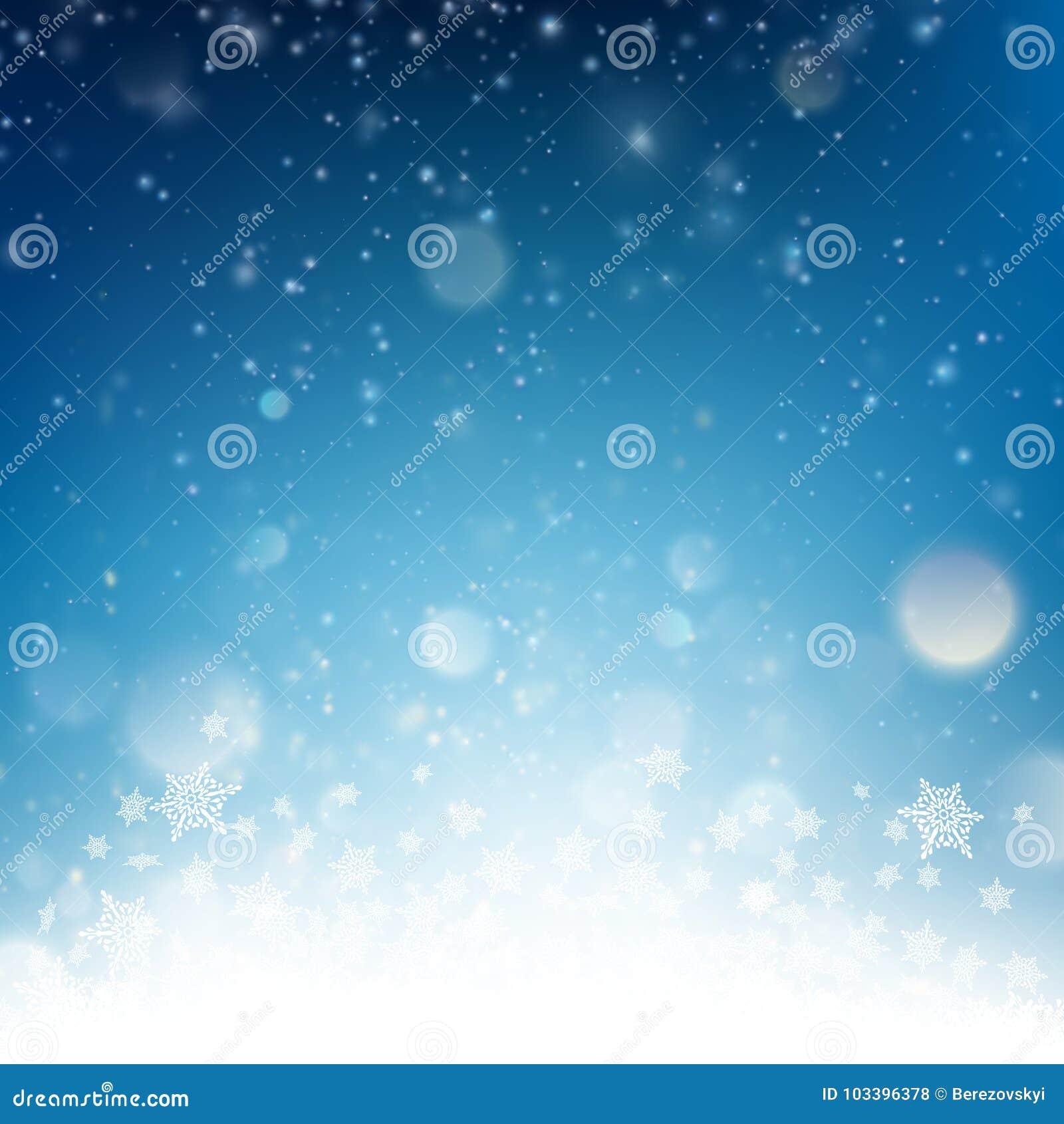 blue christmas falling snow template eps 10 vector stock vector