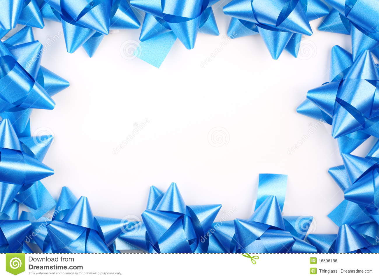Blue Christmas Gift Bows Stock Photo Image Of White