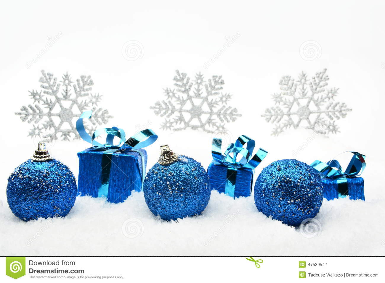 5796c9a2fc881 Blue Christmas Gifts And Baubles With Snowflakes On Snow Stock Image ...