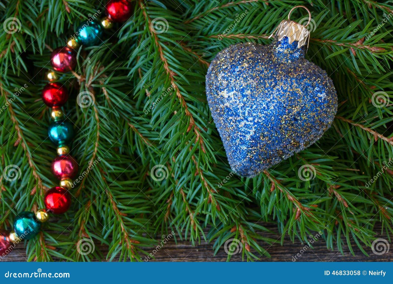 Blue christmas heart stock photo image