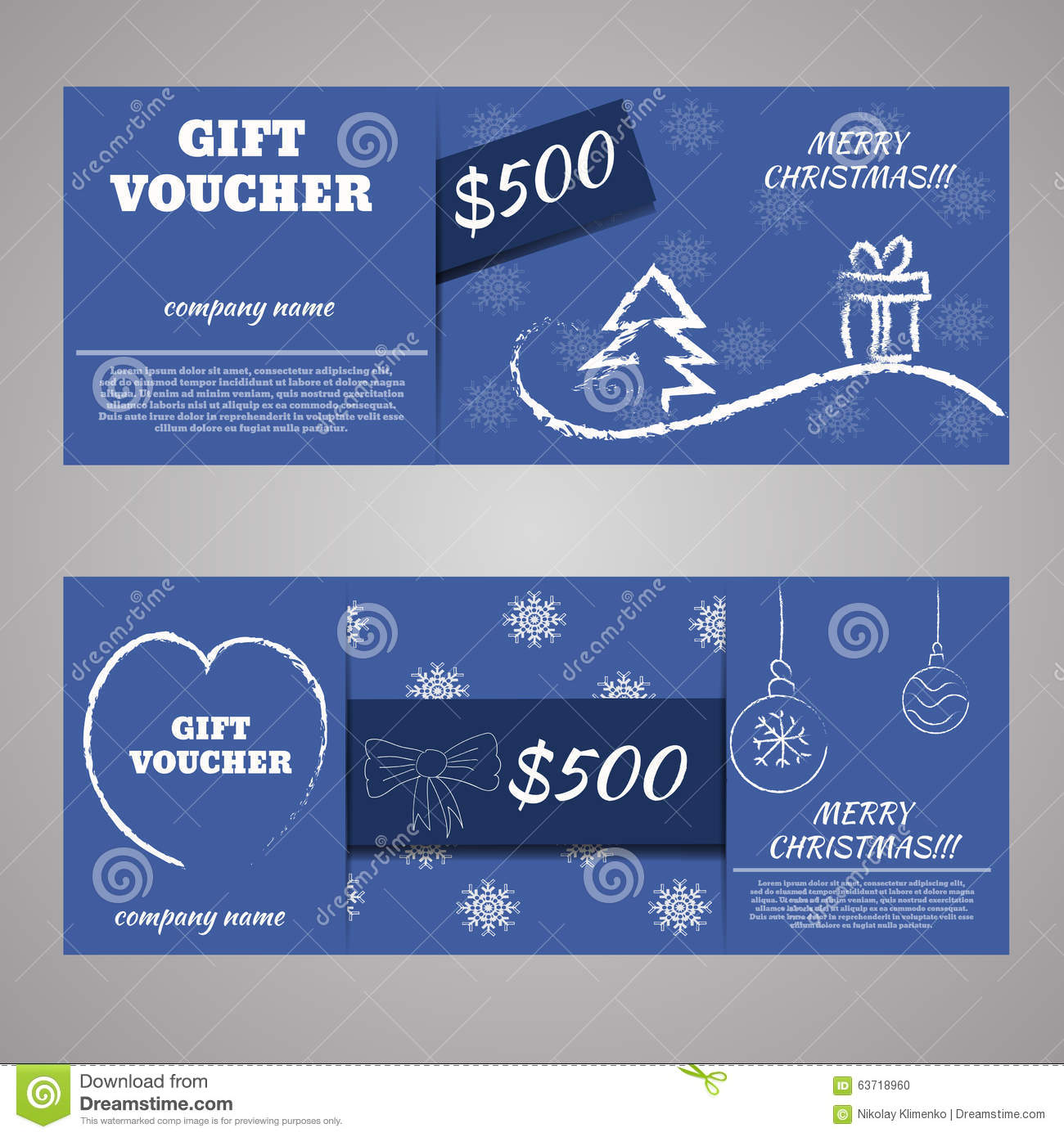 blue christmas and new year gift voucher certificate coupon stock vector image 63718960. Black Bedroom Furniture Sets. Home Design Ideas