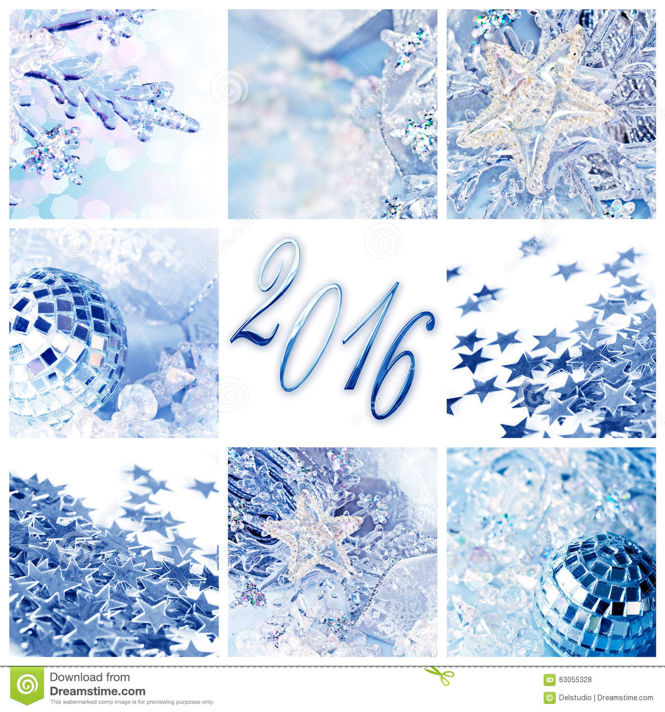 2016 blue christmas ornaments greeting card stock photo image
