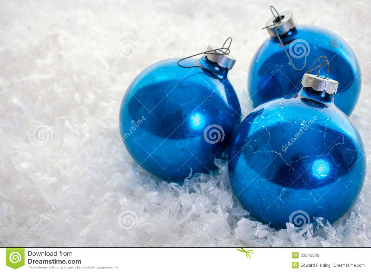 Blue Christmas Ornaments On Snow Stock Photos - Image: 35545343