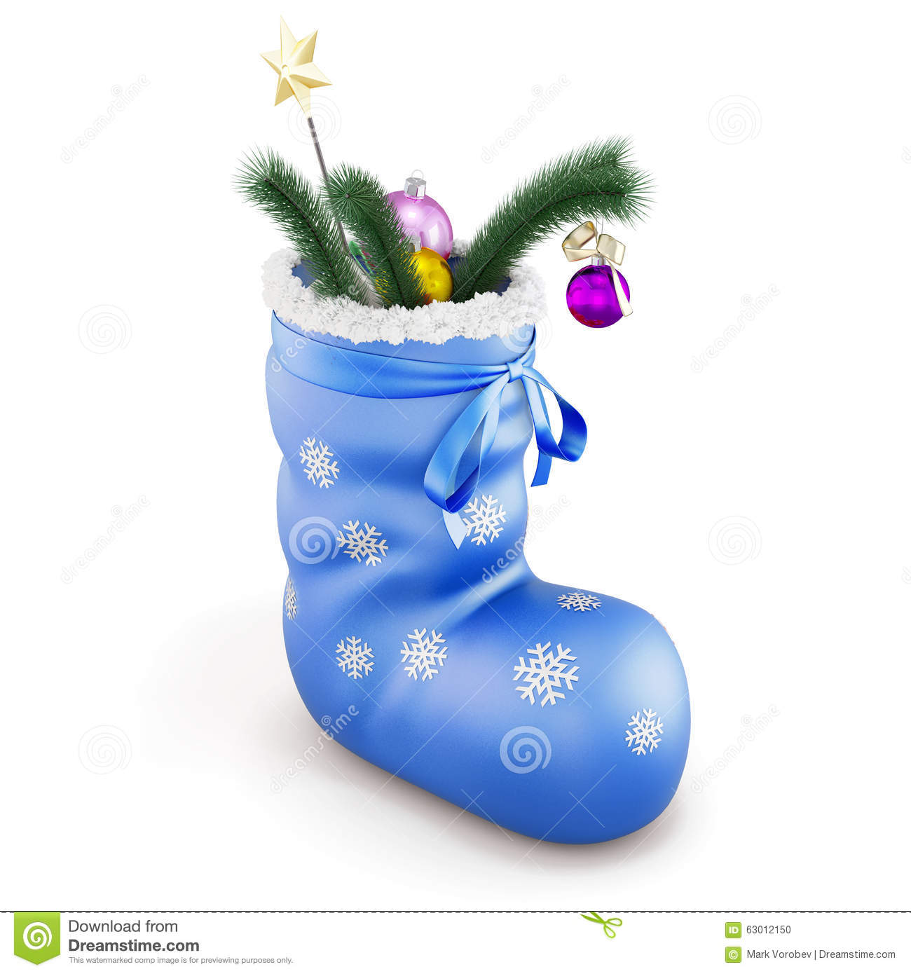 Blue christmas sock with gifts on white background. 3d.