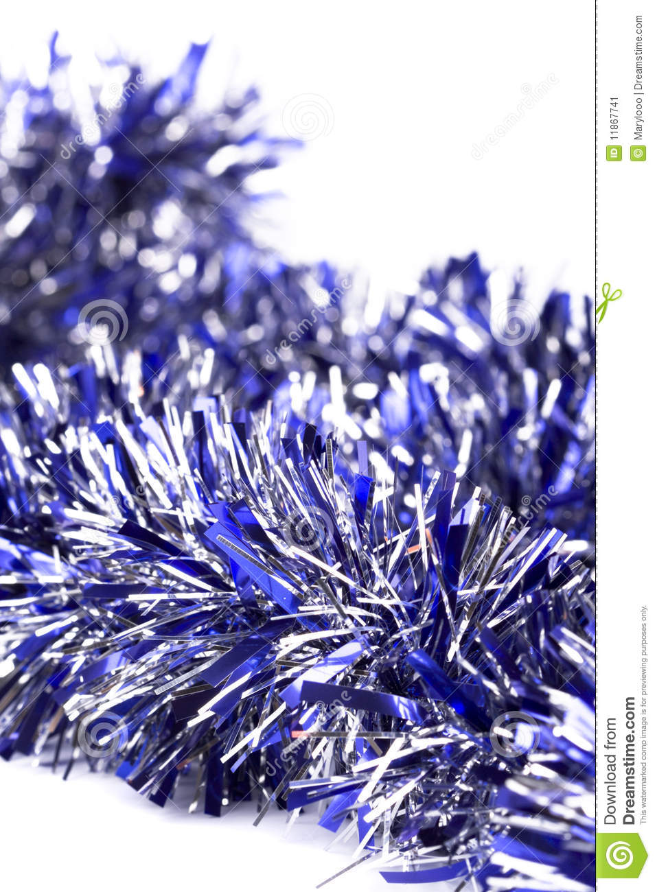 Blue christmas tinsel garland decoration stock image