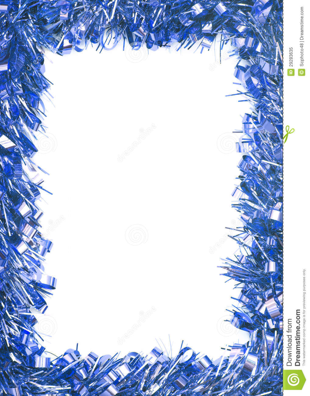 Blue christmas tinsel garland stock image