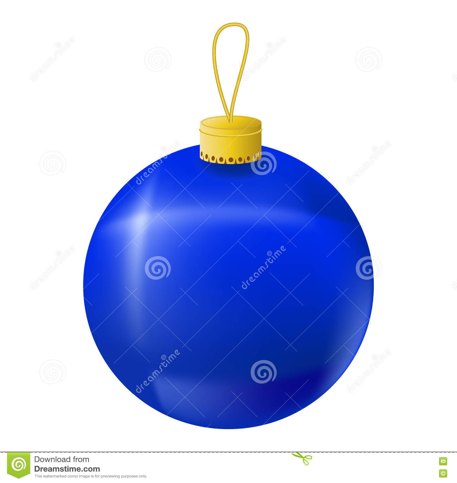 Blue Christmas Tree Ball Realistic Illustration Christmas Fir Tree