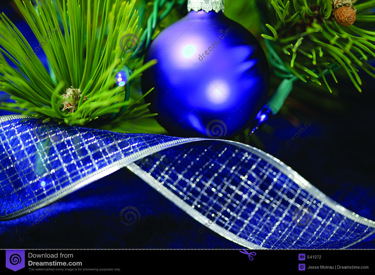 Blue christmas tree decorations stock photography image 541072