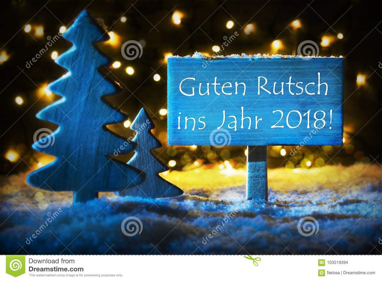 Blue christmas tree guten rutsch 2018 means happy new year stock text guten rutsch 2018 means happy new year 2018 blue christmas tree with snow and magic glowing lights in backround card for seasons greetings m4hsunfo