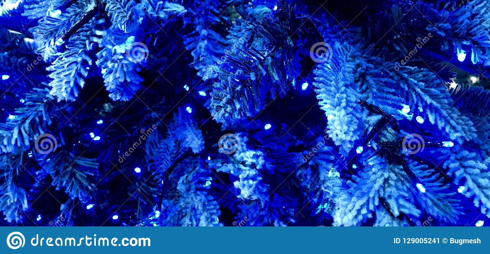 White Christmas Tree With Blue Lights.Blue Christmas White Frocked Christmas Tree With Blue