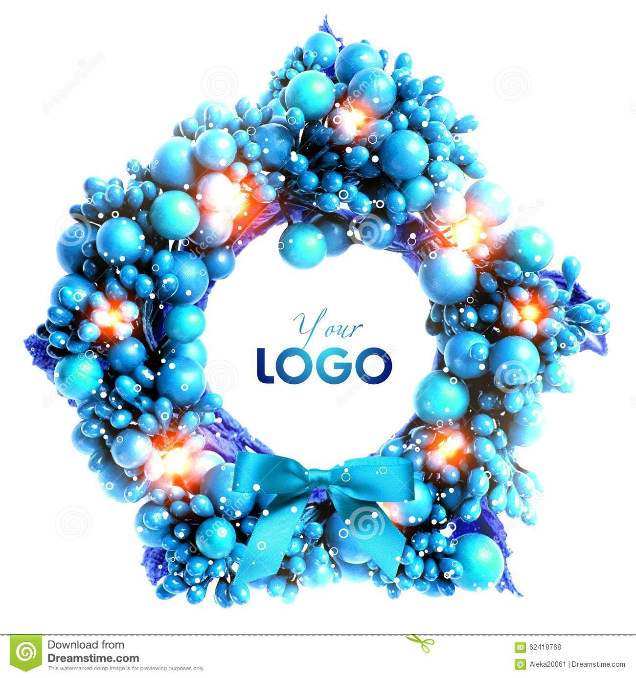 blue christmas wreath on a white background isolated - Blue Christmas Wreath