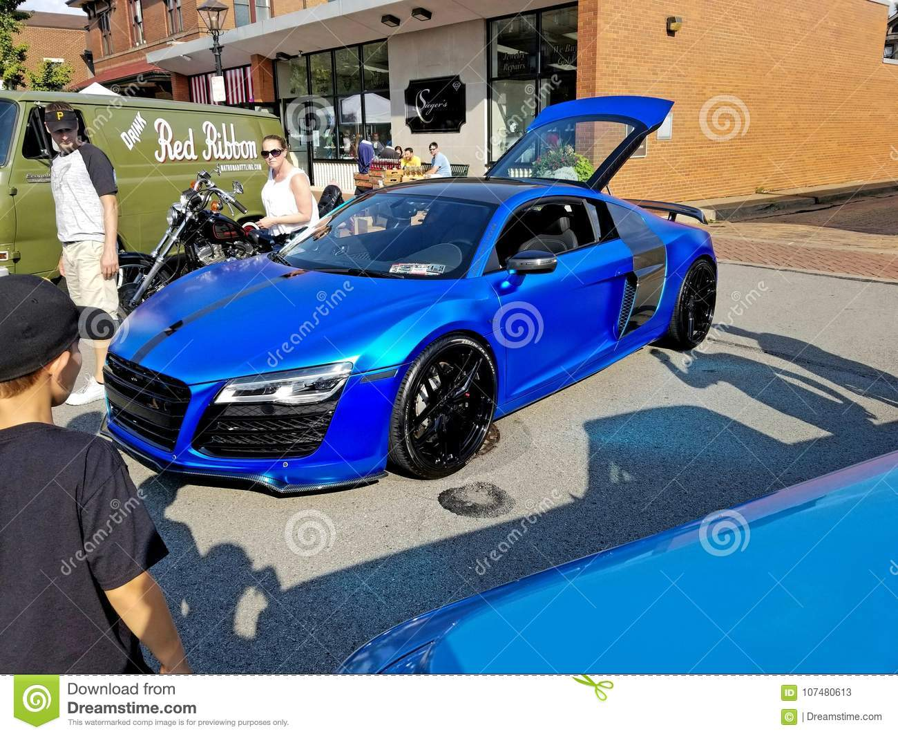Blue Chrome Wrapped R8 Editorial Stock Photo Image Of Wheels 107480613