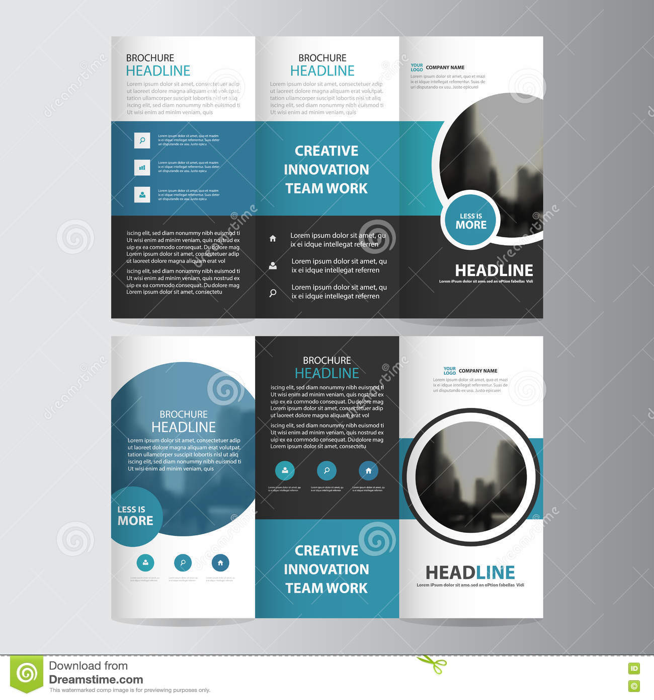 Blue Circle Business Trifold Leaflet Brochure Flyer Report