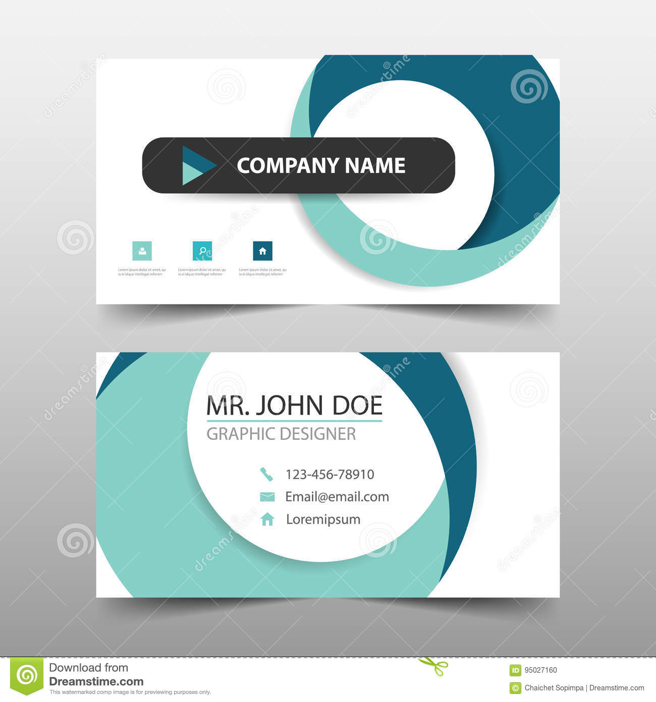 Blue circle corporate business card name card template horizontal blue circle corporate business card name card template horizontal simple clean layout design template cheaphphosting Images
