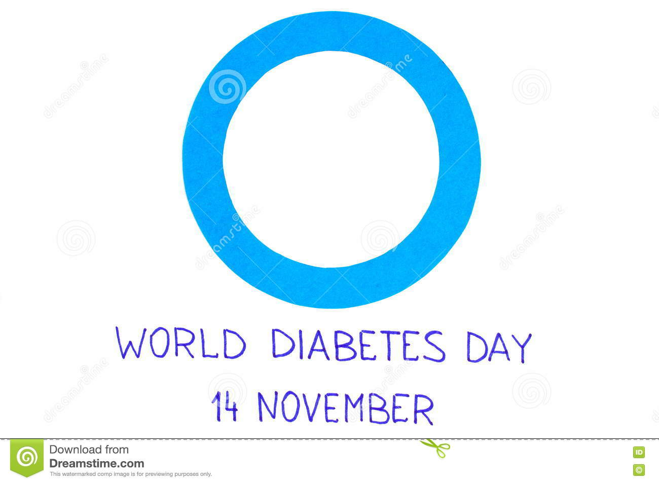 blue circle of paper on white background symbol of world diabetes blue circle of paper on white background symbol of world diabetes day