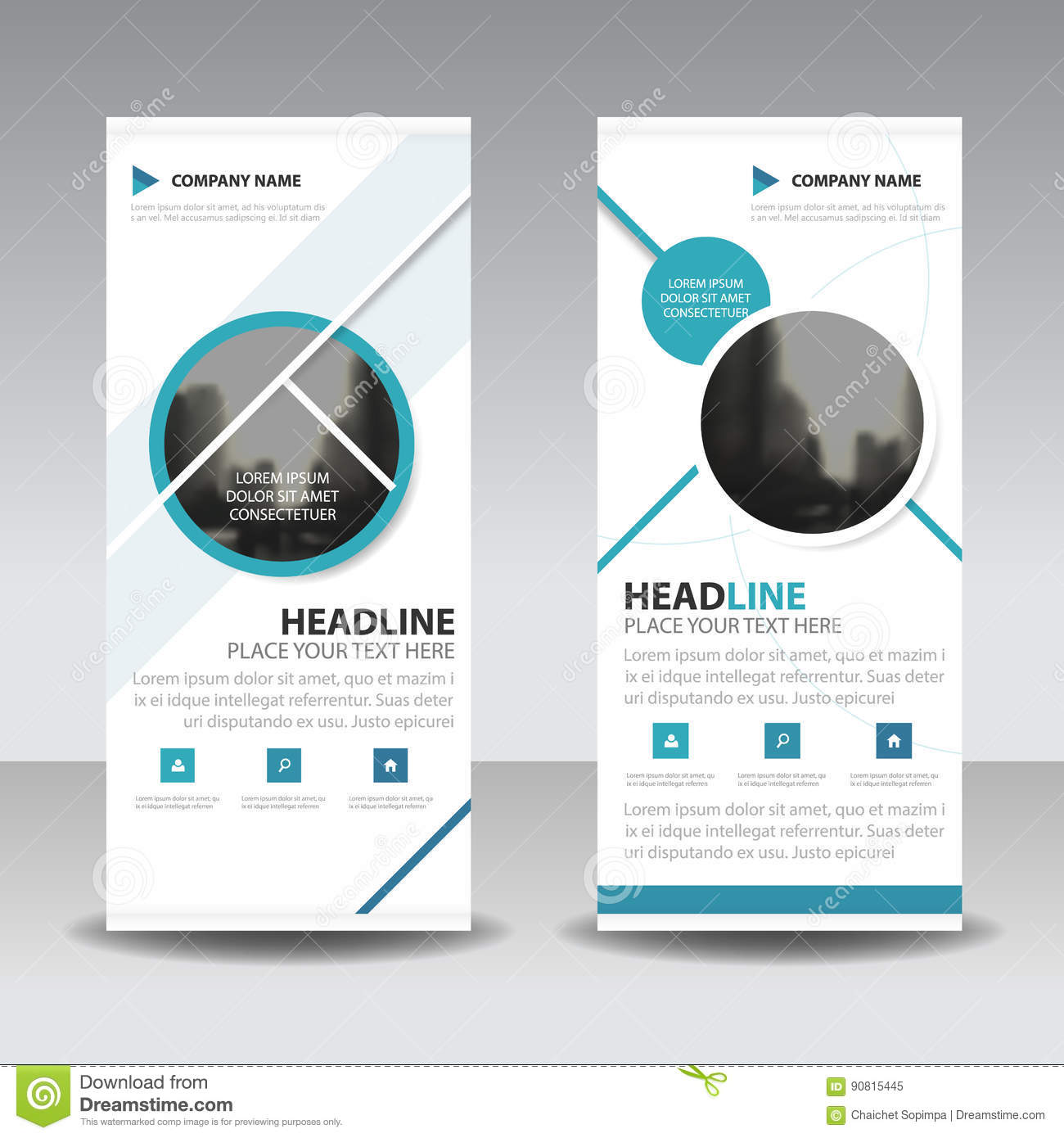 Blue circle roll up business brochure flyer banner design , cover presentation abstract geometric background, modern publication