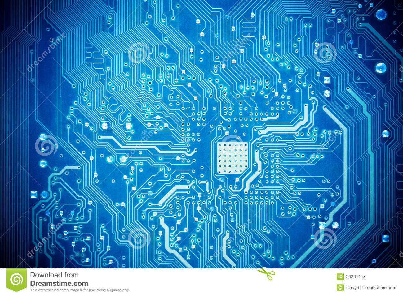 Blue Circuit Board Stock Image Image Of Component