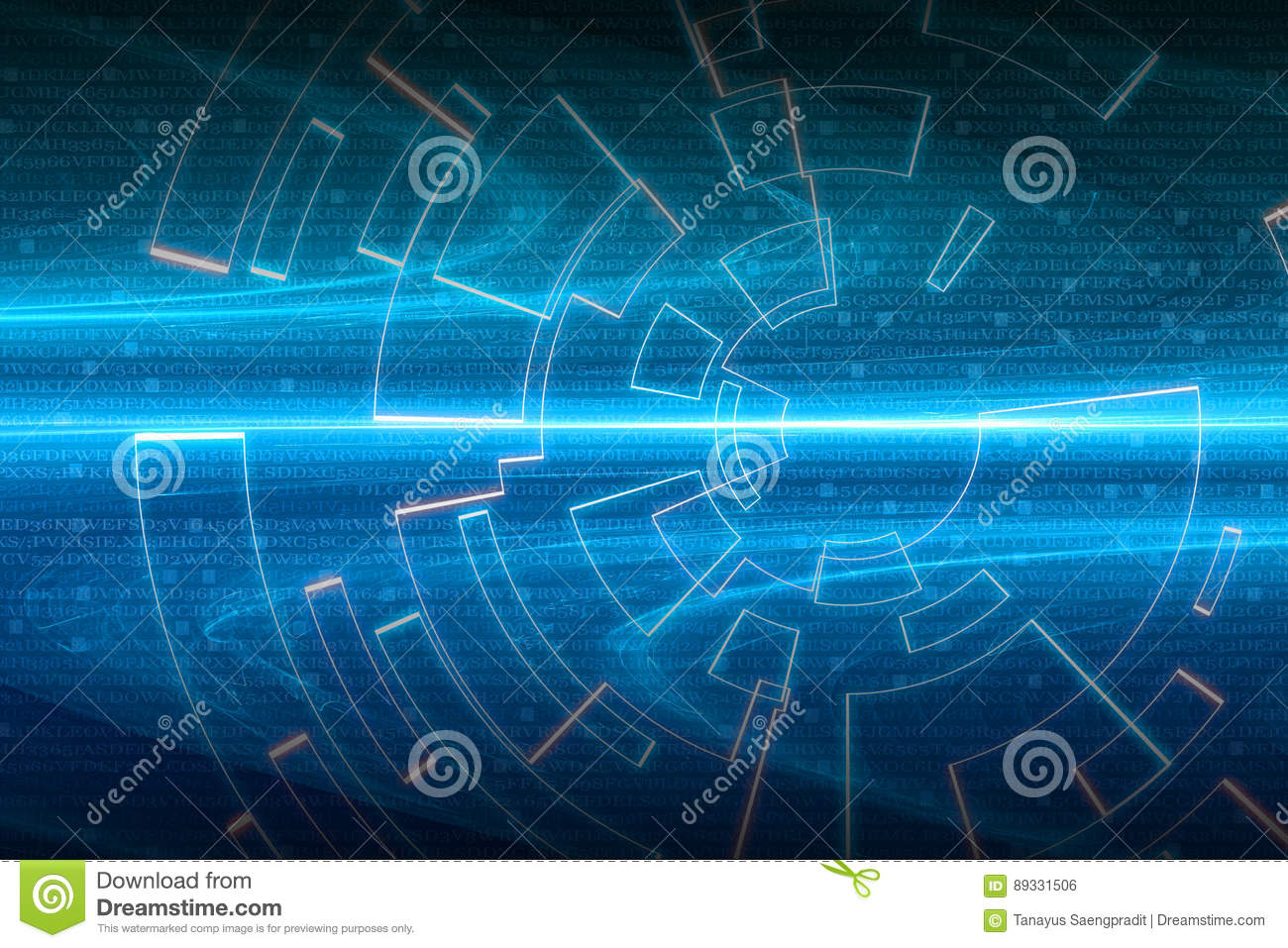 Blue Circular Glow Wave Scifi Or Game Background Stock